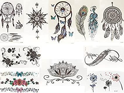 Lot De 10 Faux Tatouage Noir Et Multicolore Flash Tatouage Tattoo
