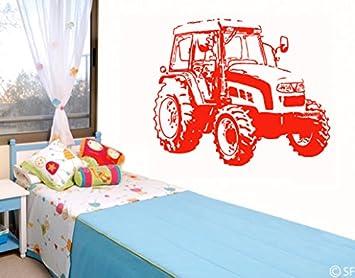 Wandtattoo Traktor Bsm012 Wandaufkleber Wandsticker Kinderzimmer 72 X 60  Grau
