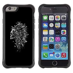 "Pulsar iFace Series Tpu silicona Carcasa Funda Case para Apple iPhone 6+ Plus(5.5 inches) , Pluma india del tocado Cráneo Negro"""