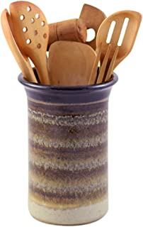 product image for American Made Stoneware Pottery Countertop Utensil Holder Jar in Mocha Cream