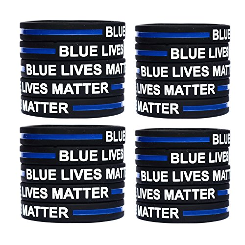 100 Blue Lives Matter Thin Blue Line Silicone Wristbands in Support Memory Police Officer by SayitBands