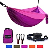 TANMIT Camping Hammock, Lightweight Nylon Portable Double Hammock For Backpacking, Camping, Travel, Beach, Yard. 118''(L) x 78''(W) (Fuchsia/Pink)