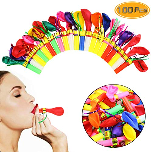 Best Deals! Neworkg 100pcs Multicolor Noisemakers Blowouts Party Horns with Balloons, Glitter Fringe...