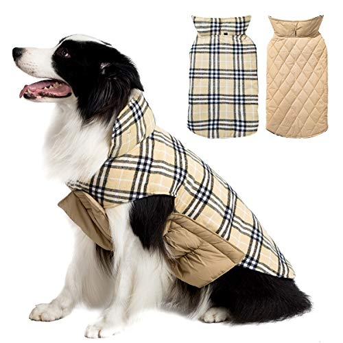 (TPHC Dog Jacket Cozy Waterproof Windproof Reversible British style Plaid Dog Vest Winter Coat Warm Dog Apparel for Cold Weather Dog for Small Medium Large dogs(XS -)
