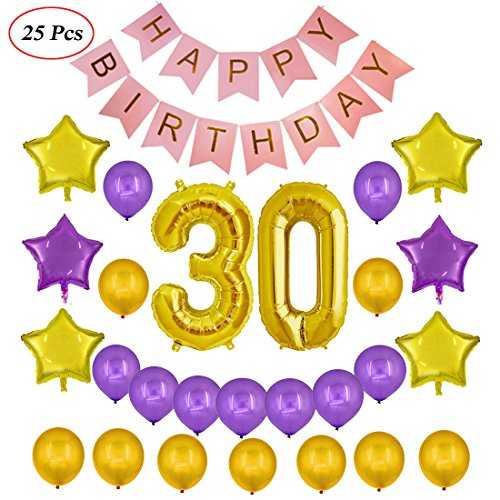 Echolife 30th Birthday Party Decorations Kit - Happy Birthday Banner, 30th Gold Number Balloons & Shiny Star Foil latex Balloons Set (For (Purple 30th Birthday Decorations)