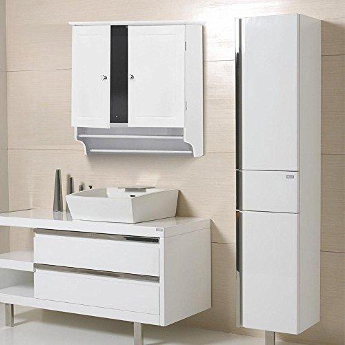 Yaheetech Bathroom/Kitchen Wall Mounted Cabinet White Double Door & Hanging Bar Storage Cupboard (Cabinets Corner Hanging)