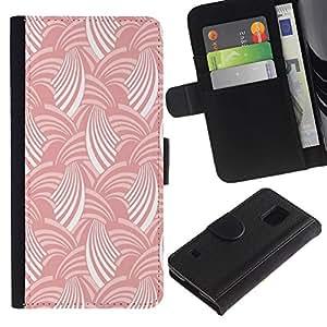 KingStore / Leather Etui en cuir / Samsung Galaxy S5 V SM-G900 / Blanco Rosa raya el modelo del arte del papel pintado