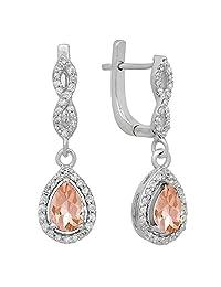 14K White Gold Ladies Halo Style Dangling Drop Earrings