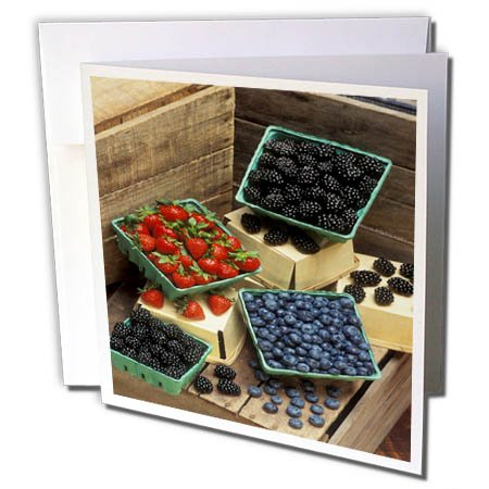 3dRose TDSwhite – Farm and Food - Food Healthy Fresh Berries Colorful - 6 Greeting Cards with Envelopes (gc_285154_1) by 3dRose