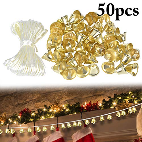 50Pcs Christmas Bells Christmas Golden Bells Craft for Christmas Tree Ornaments with 65.62ft Beige Cord - Gold Ornament Bell