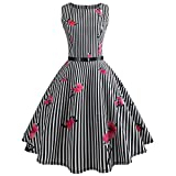 Wugeshangmao Dress Clearance! 50S 60S Vintage Dresses Sleeveless for Women Floral Print Striped Prom Cocktail Pleated Dresses for Summer