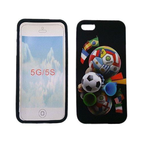 handy-point Fußball - Weltmeisterschaft WM Gummihülle Silikonhülle Gummi Silikon Schale Schutzschale Schutzhülle Hülle für iPhone SE 5 5S Bunt