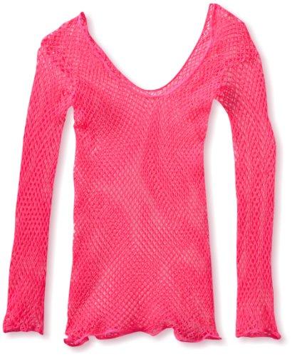Leg Avenue Women's Lycra Industrial Fishnet Longsleeve T-Shirt, Neon Pink, One Size (Pink Fishnets)