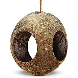 SunGrow Gecko 3-Hole Coco Den - Nesting Home Hide - Mini Condo for Lizards - Coconut Texture Provide Food for Pets - Raw Coconut Husk Hide - Durable Cave Habitat with Hanging Loop
