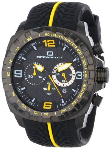 (Oceanaut Men's OC1124 Racer Chronograph Stainless Steel Watch with Yellow-and-Black Tire-Tread Band)