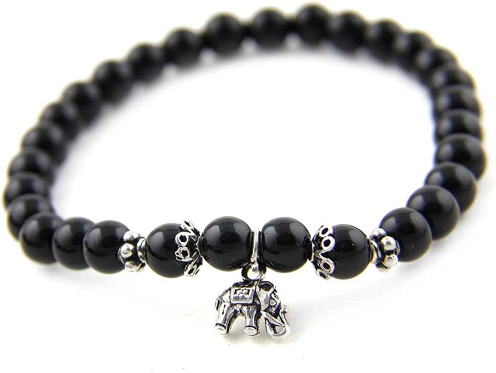 Agathe CreationP182014–Pulsera tibetana de la buena suertecon colgante de elefante en plata 925, cuentas de piedras de ónice yperlas en plata 925–negra–talla a medida–elaborada a mano