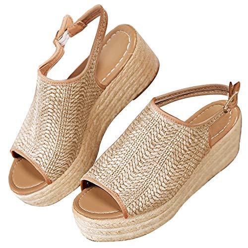 - Blivener Espadrille Wedge Sandals Casual Summer Peep Toe Slingback Platform Sandals Shoes BEIGE36 (6)