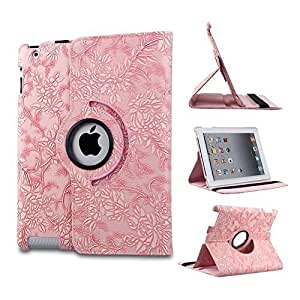 iCHOOSE iPad Air PU Leather 360 Degree Rotating Case / Flower Floral Designer Stand Cover with Free Screen Protector & Cleaning Cloth & Stylus Pen / Cases, Covers & Accessories for Apple iPad Air (iPad 5, 5th Generation released November 1st 2013) - Style 1 Pink by iChoose Limited
