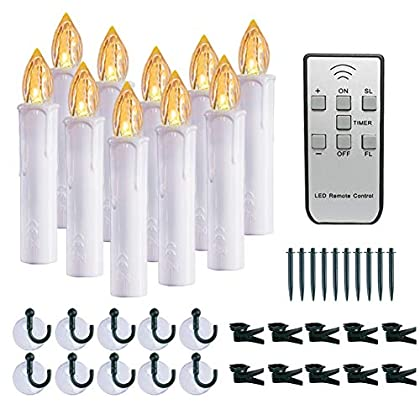 "Homemory 10 PCS LED Window Candles with Remote Timer, Battery Operated Flameless Taper Candles Light with Removable Spikes/Clips/Suction Cups, Warm White, Dia 0.7""x 4"""