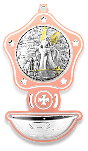 Pink Guardian Angel Holy Water Font by Vatican Imports