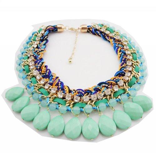 WIIPU Fashion Neon Candy Colored Braided Chunky Statement Choker Necklace Christmas Gift(WP-C432) (mint green)