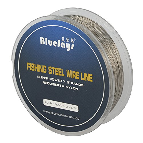 - 0.45mm 100 Metres 20 Pound Fishing Stee Wire Nylon Coated 1x7 Stainless Steel Leader Wire Super Soft Fishing Wire Lines
