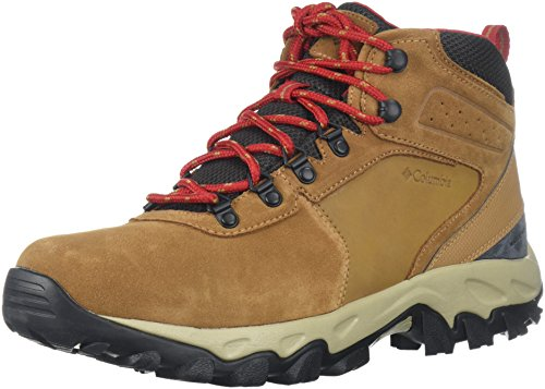 Columbia Men's Newton Ridge Plus II Suede Waterproof Boot, Breathable with High-Traction Grip Hiking, elk, Mountain red, 15 Regular US (Faux Fly Mesh)