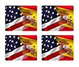 BleuReign(TM) Mixed USA and Spain Flag Set of 4 Square Coasters