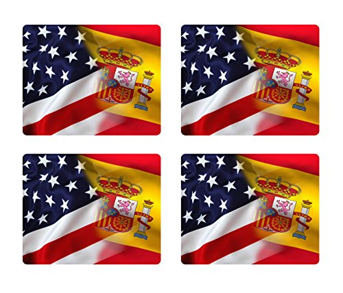 BleuReign(TM) Mixed USA and Spain Flag Set of 4 Square Coasters by BleuReign