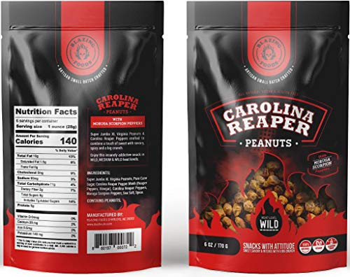 Carolina Reaper Peanuts small batch Super Jumbo Peanuts fused with the world's hottest pepper crunchy, sweet, intense and insanely addictive - Perfect gift for spicy food and hot snack lovers (Wild) (Best Peanuts In The World)