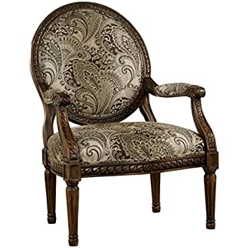 round accent chair. Ashley Furniture Signature Design - Martinsburg Accent Chair Round Back Vintage Style Brown