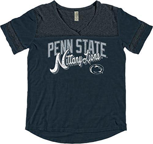 Blue 84 NCAA Penn State Nittany Lions Adult Women NCAA Womens Dyed Varsity Tee,Medium,Indigo