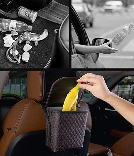 Car Garbage Bag /& Car Trash Bin/… Car Trashcan Car Trash Container Water Proof Car Garbage Can with Matching Tissue Box Car Trash Bag Machine Washable Luxxe Refined Leather Car Trash Can