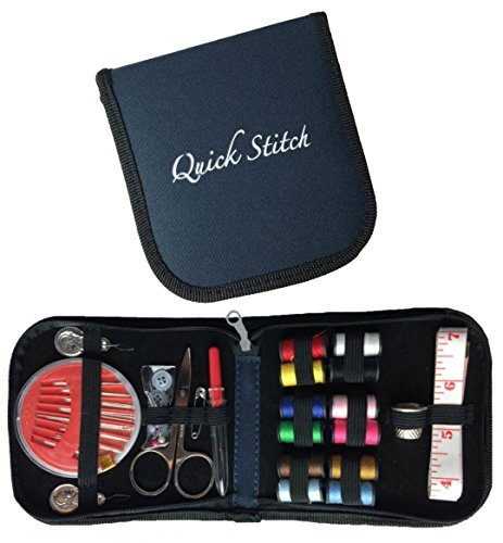 quick stitch mini travel sewing kit with all basic sewing supplies in a navy blue compact