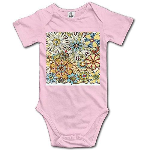BjlkMLMLM Colorful Flowers Henna Paisley Mehndi Doodles Tribal Design Baby Outfit Creeper Short Sleeves Onesies
