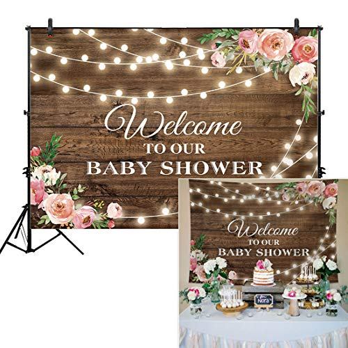 Allenjoy 7x5ft Rustic Floral Wooden Backdrop Wrinkle Free Baby Shower Bridal for Studio Photography Pictures Brown Wood Floor Flower Wall Background Newborn Birthday Party Banner Photo Shoot -