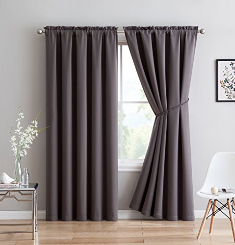 """Erica - Premium Rod Pocket Blackout Curtains With Tiebacks - 2 Panels - Total 108 Inch Wide (54 Each Panel) - 84 inch long - Solid Thermal Insulated Draperies (54""""W x 84""""L - Each Panel, Charcoal)"""