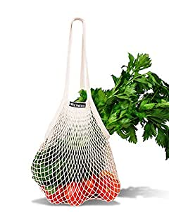 """NetNeed Cotton Reusable Net Shopping Tote String Bag Organizer for Grocery Shopping & Beach, Storage, Fruit, Vegetable and Toys -Lightweight & Sturdy Mesh Produce bag(15 x 19"""", Natural/Long Handle)"""