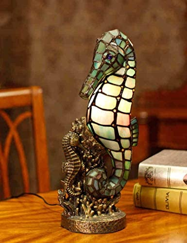 PIPIXIA TXY Tiffany Style Stained Glass Table Lamp Cute Seahorse Night Light – for Cafe, Bedroom, Study