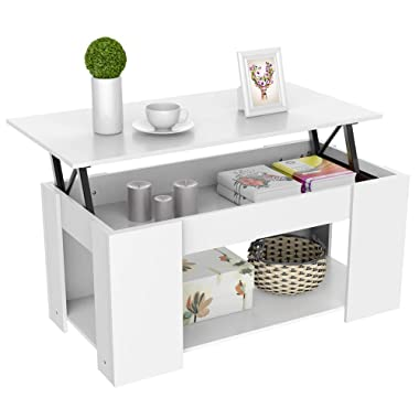 Yaheetech Lift-up Top Coffee Table w/Hidden Storage Compartment & Shelf White