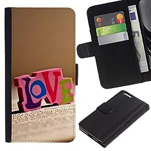 Ihec-Tech / Flip PU Cuero Cover Case para Apple Iphone 6 PLUS 5.5 - Love LOVE