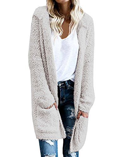 Wollsolo Women's Casual Open Front Long Thick Knit Hoodie With Two Pockets Cardigan Sweaters
