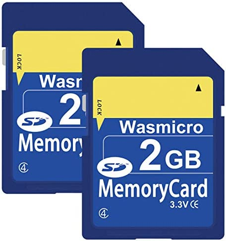 2 Pack Wasmicro SD Card 2GB Standard SD Flash Memory Cards 2G Class 4 (NYH2G4YL208)