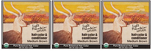 Light Mountain Natural Hair Color & Conditioner, Medium Brown, 4 oz (113 g) (Pack of 3) ()