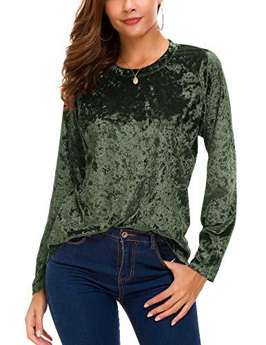 - Women's Vintage Velvet T-Shirt Casual Long Sleeve Top (S, Green)