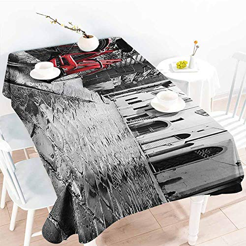 (Homrkey Washable Table Cloth Bicycle Decor Classic Bike on Cobblestone Street in Italian Town Leisure Charm Artistic Photo Red Black and White Easy to Clean W60 xL84)