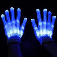 ESUMIC® Raver geschwärzt Handschuhe LED Skeleton Single Color Light Show...