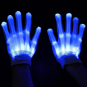 ESUMIC® Raver geschwärzt Handschuhe LED Skeleton Single Color Light Show...