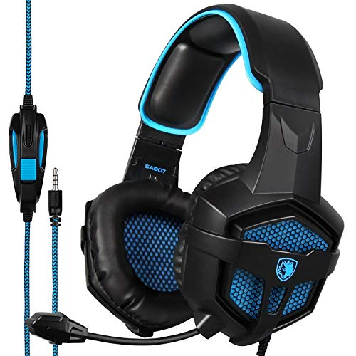 Sades SA807 Stereo Gaming Headsets Over Ear Heaphones with Microphone Noise Isolating for New Xbox one PS4 PC Mobile(Black & Blue)