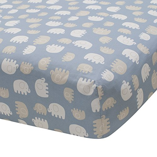 e Elephant Tales 100% Cotton Fitted Crib Sheet - Blue/Gray/White ()